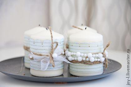 Декор свечей. Красивые свечи в нежных тонах, украшенные скрап бумагой, лентами и бусинами.   Цена одной свечи от 250 руб. Декор может быть разным и сами свечи тоже(в зависимости от тематики свадьбы(праздника) и ваших…