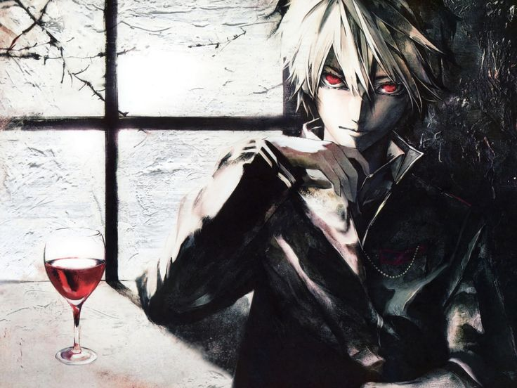 hot boy/red eyes / glass of blood / white hair / dark side