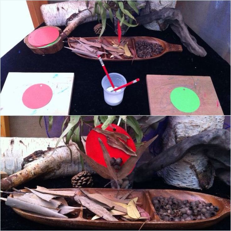 Christmas decorations:   After exploring the gardens at a Reggio influenced kindergarten, the children and I decided to make Christmas Tree ornaments~Using materials found under a gum nut tree.