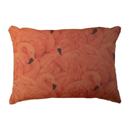 Tropical Pink Flamingos Accent Pillow - home gifts ideas decor special unique custom individual customized individualized