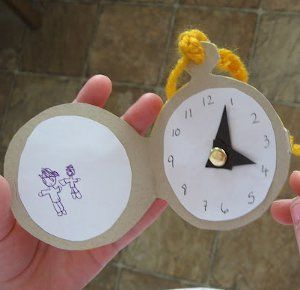 Make an Alice in Wonderland Pocket Watch to practice getting places on time: recess, lunch, etc. Nice pictures for finger knitting included.