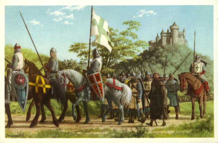 Crusaders -   That call was answered in most countries of Europe. The knights went on the road to Jerusalem. They stitched a cross on their clothing and were therefore called Crusaders. Numerous Belgians took part.