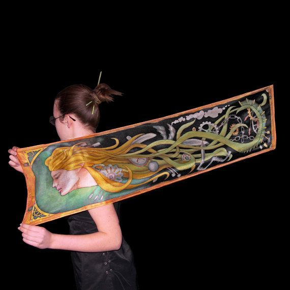 Steampunk silk scarf Hand painted  shawl  art nouveau by SilkaShop