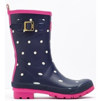 Joules - a British Lifestyle brand recognised by distinctive colours, prints, detail & quality encompassing values of heritage, countryside, Britishness, family and fun.  Joules ever-popular Molly is designed shorter to suit all heights and calf sizes. In some of our favourite prints they're a real British weather essential. http://www.marshallshoes.co.uk/womens-c2/joules-womens-mollywelly-short-printed-navy-white-spotted-boot-p4159
