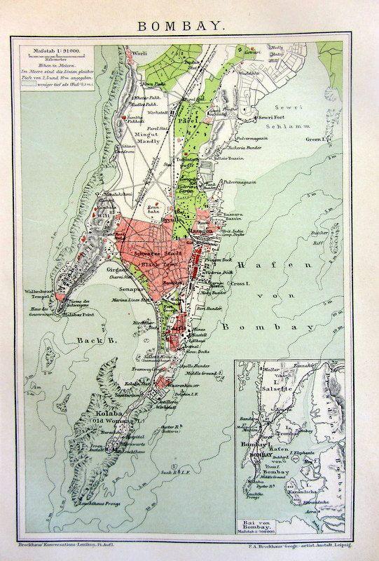 1904 Antique Map print of Bombay city 110 by LyraNebulaPrints, $21.00