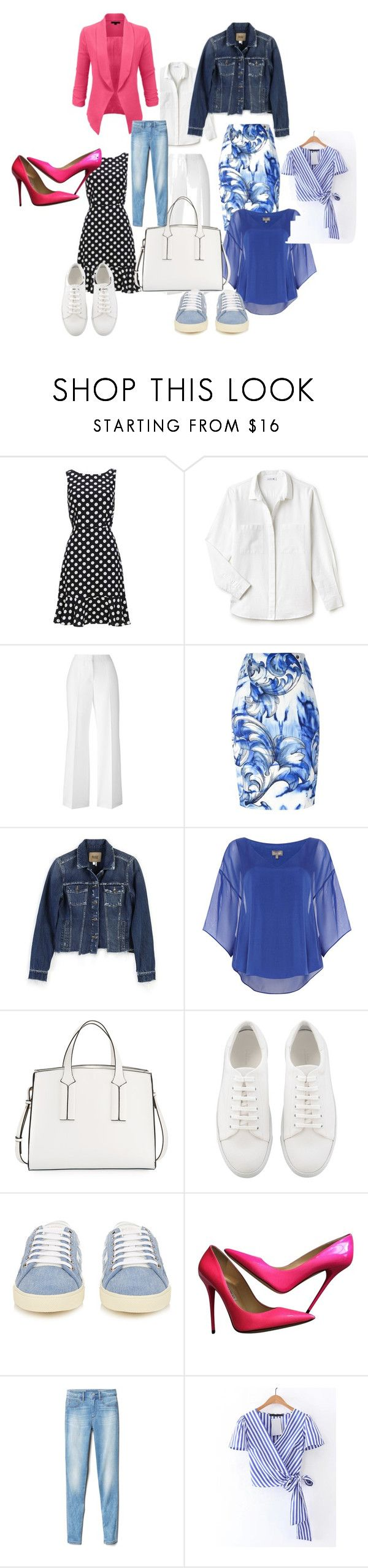 garderobeplanning by jeanet-locht on Polyvore featuring mode, Phase Eight, Lacoste, Paige Denim, Versace, Gap, Jimmy Choo, Yves Saint Laurent, French Connection and LE3NO