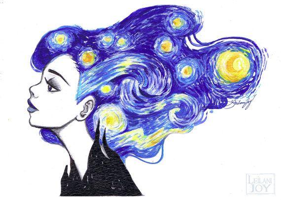 Starry Night 5x7 or 8x10 Fine Art Print by by LeilaniJoyArt