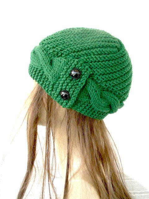 Hand Knit Hat winter hat Womens hat Cloche hat in by Ebruk, $35.00