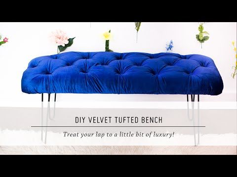 DIY Velvet Tufted Bench // I would do this at the end of my bed in a nude color for sure. Bold colors aren't my thing O: