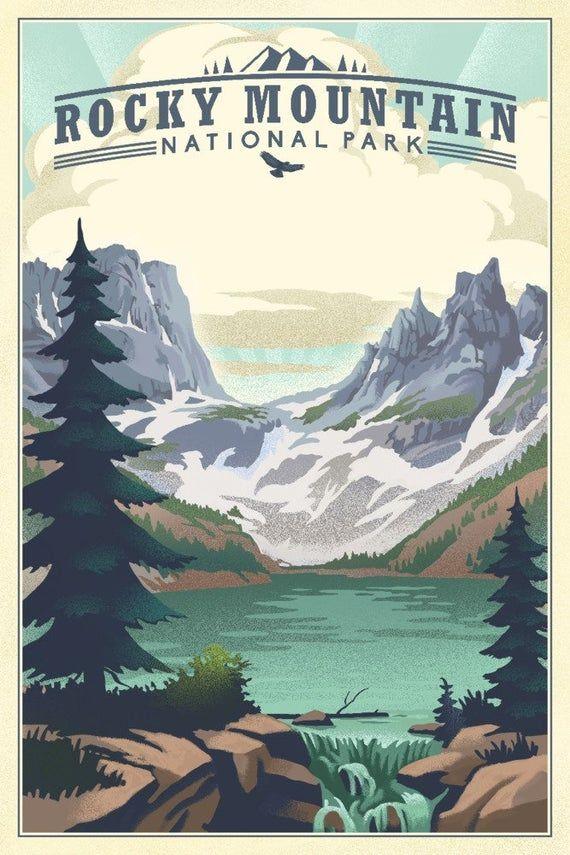 Rocky Mountain National Park, Colorado – Lake – Lithograph (Art Prints, Wood & Metal Signs, Canvas,