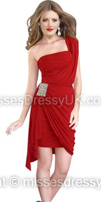 Sheath/Column One Shoulder Chiffon Short/Mini Red Crystal Brooch Homecoming Dress