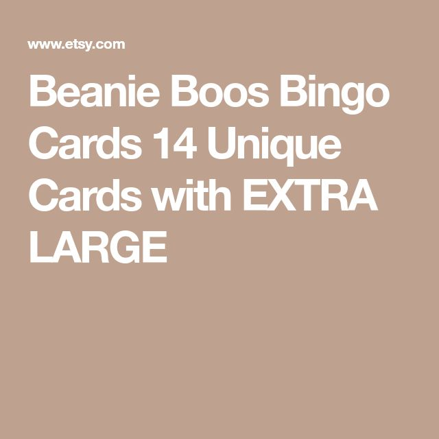 Beanie Boos Bingo Cards 14 Unique Cards with EXTRA LARGE