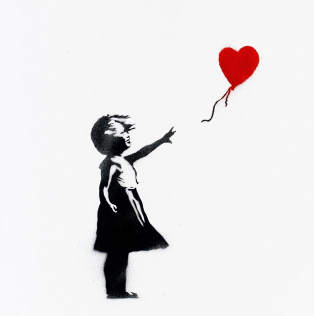 girl letting go of balloon | Banksy Images Created on Third Anniversary of Hurricane Katrina to ...