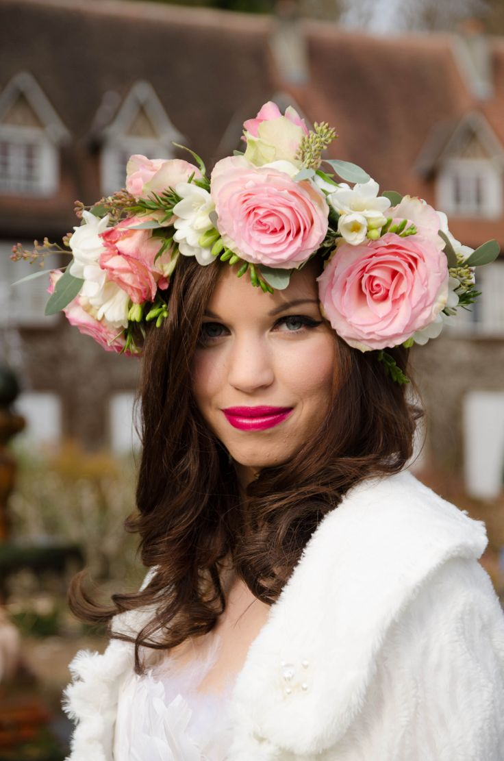 Rose floral crown with freesia, rosemary and eucalyptus by Le Coeur Sauvage. Photography by Innate Form Photography, Make up by Samantha Matthews Make up artist and hair by Emma Lousie hairstylist.