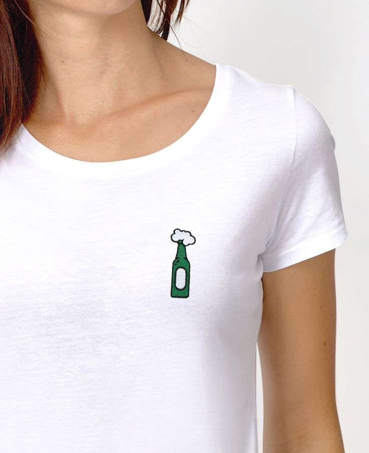 T-shirts à écusson Femme Beer (t-shirt à écusson) Blanc by Madame TSHIRT