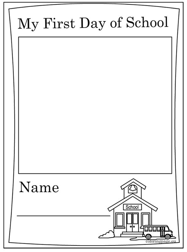 First Day of School - Coloring Page