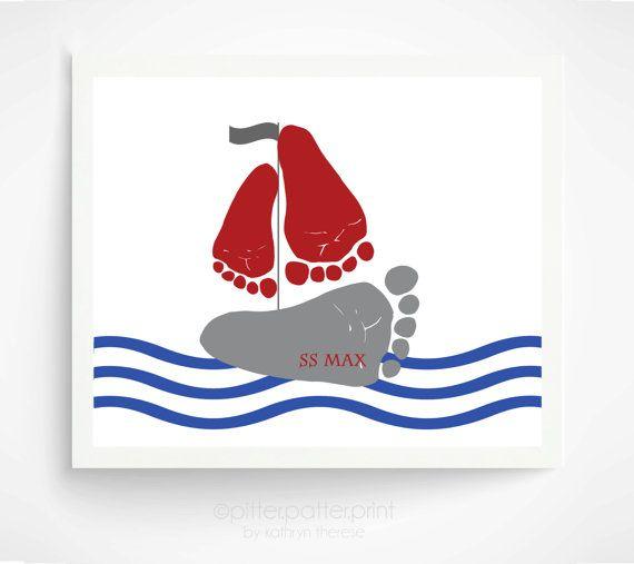 Baby Footprint Sailboat Nautical Nursery Art by PitterPatterPrint