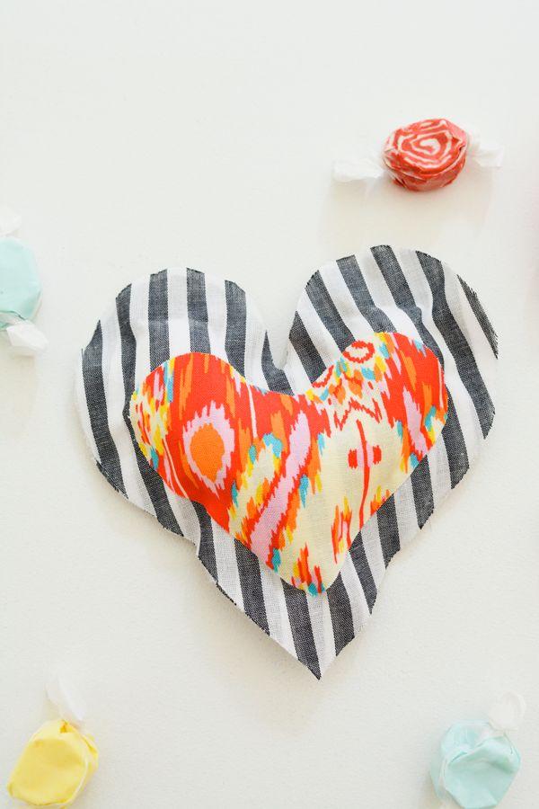 Easy no sew heart pillow diy