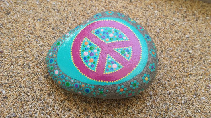 Symbol of peace hand painted stone dots