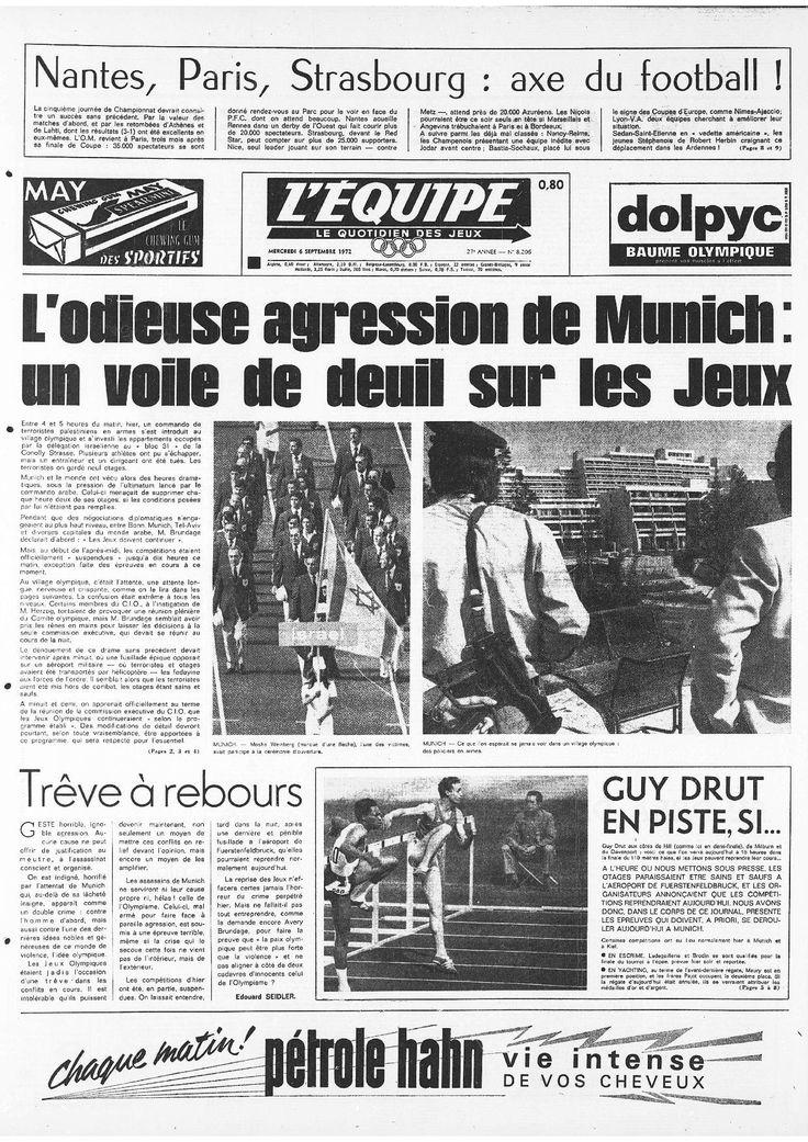 """JO de 1972 : """"L'odieuse agression de Munich"""" : 70 ans de L'Equipe : 35 Unes marquantes - Linternaute"""