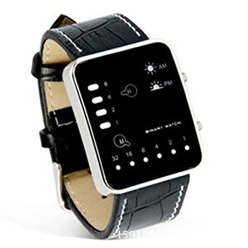 Melinda Catherine Splendid Watch Fashion Digital Red LED Sport Wrist Watch Binary Wristwatch PU Leather Women Mens Clock Relogio Feminino