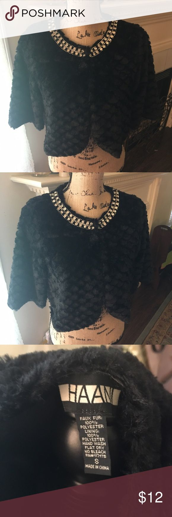 Black Faux Fur Shrug with Rhinestone Details Size Small.  Very Soft. Great for Wedding Season! Haani Jackets & Coats Capes