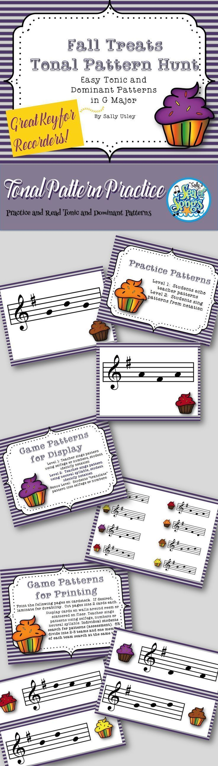 Seasonal game to reinforce and/or assess student recognition of 8 easy tonic and dominant tonal patterns in G Major Tonality. The set includes 8 practice slides to project, a game slide with all 8 patterns to project, and 8 pattern cards to print and lami