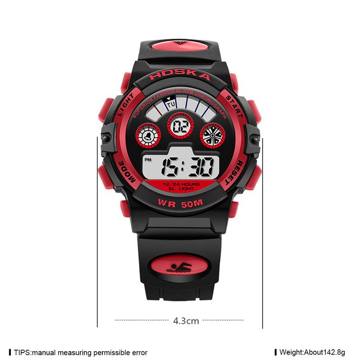 HOSKA Men Sport Digital Watch Waterproof Luminous Numbers Alarm Function online - NewChic