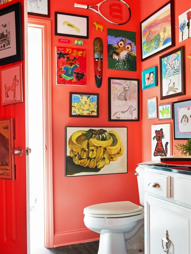 Put burnt coral on all four walls for a bold bathroom update. (http://www.hgtv.com/bathrooms/clever-low-budget-boys-bathroom-makeover/pictures/index.html?soc=Pinterest)Half Bath, Gallery Wall