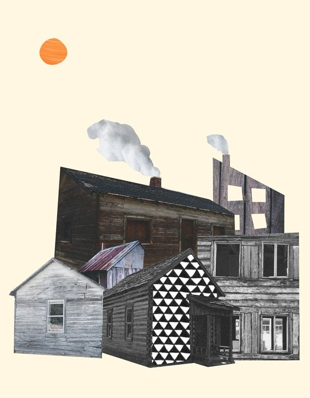 """""""Clover"""" by Isabel Leal Bergstrand. Available at: http://www.arrivals.se/product/clover-by-isabel-leal-bergstrand #art #collage #affordable #affordableart #arrivals #house #factory #print #windows #beige #gray"""