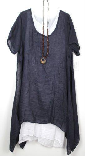 Plus-Size-Ladies-Italian-Lagenlook-Boho-Side-Split-Linen-Long-Cotton-Tunic-Dress
