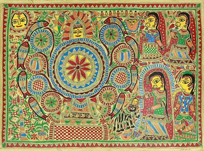 Ceremonial Madhubani Painting Signed Hinduism Art - Wedding Room II | NOVICA