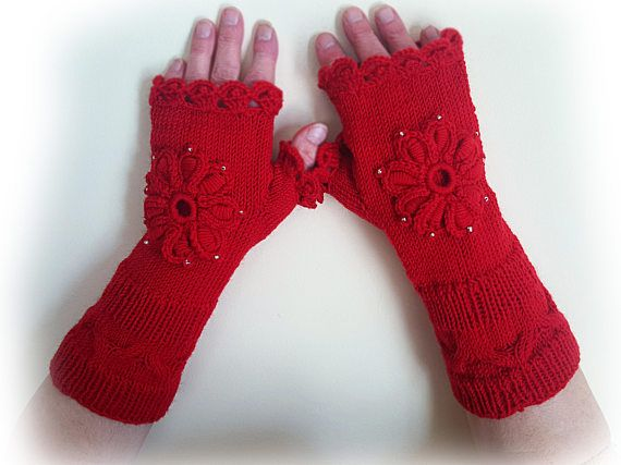 Hand knit fingerless gloves Decorated arm warmers Gloves