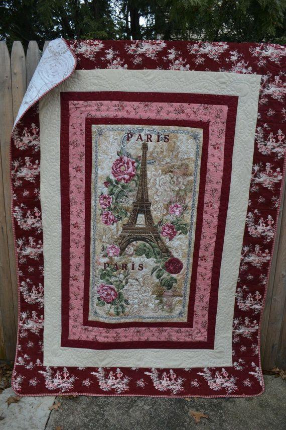 Handmade Modern Quilt Paris Eiffel Tower by TrueloveQuiltsForYou