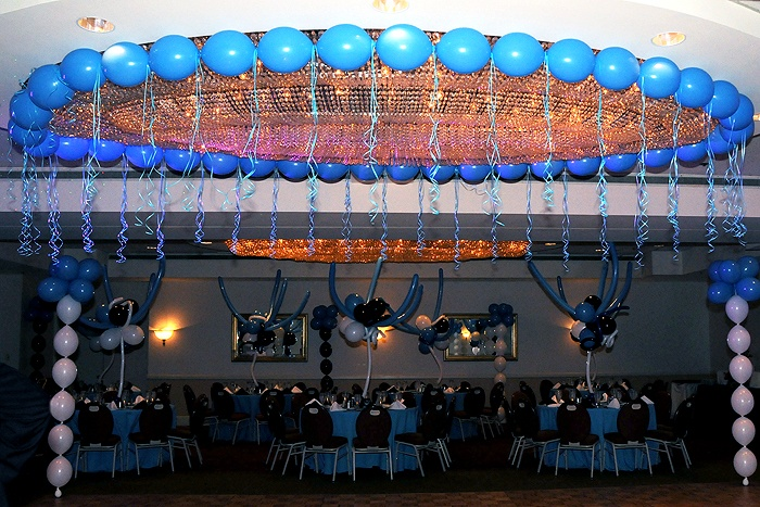 57 best images about bar bat mitzvah decorations balloon for Balloon ceiling decoration