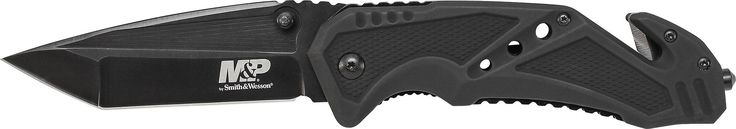 Smith & Wesson Military & Police SWMP11B Liner Lock Folding Knife. 7Cr17MoV High Carbon Stainless Steel Tanto Blade with Ambidextrous Thumb Knobs & Thumb Rest Jimping. Black Aluminum Handle with Strap Cutter. Ceramic Glass Break, & Pocket Clip. Blade Length: 3.79 inch (9.63 cm) Handle Length: 5.19 inch (13.18 cm). Overall Length: 8.94 inch (22.71 cm) Weight: 0.37 pounds.
