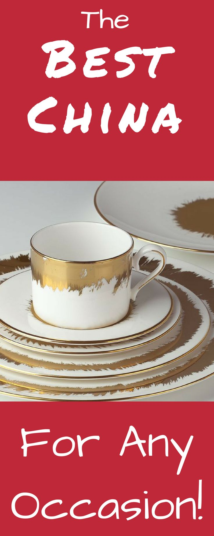 This gold and white china dinnerware is perfect for any occasion! It dresses up beautifully for a formal seated dinner but has enough modern flair to never seem stuffy. Pair it with romantic soft floral arrangements or go chic with glass votive candles. You can't go wrong! (affiliate link)