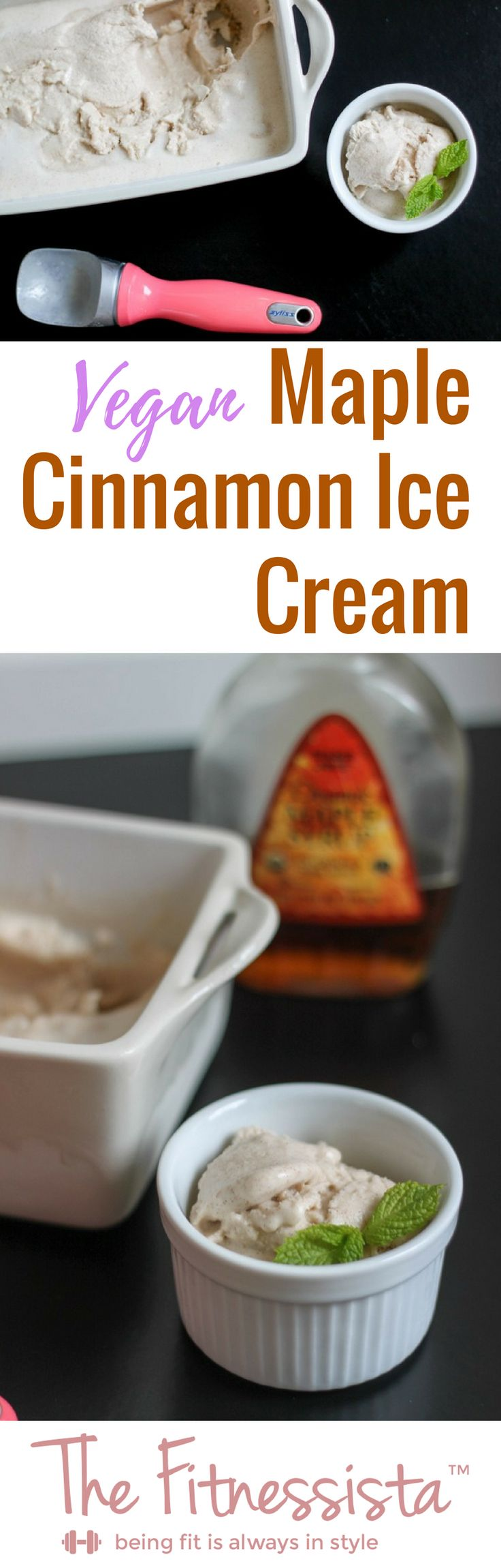 This vegan ice cream uses coconut milk for a deliciously creamy texture, along with soaked cashews and pure maple syrup for sweetness. fitnessista.com #veganicecream #coconutmilkicecream
