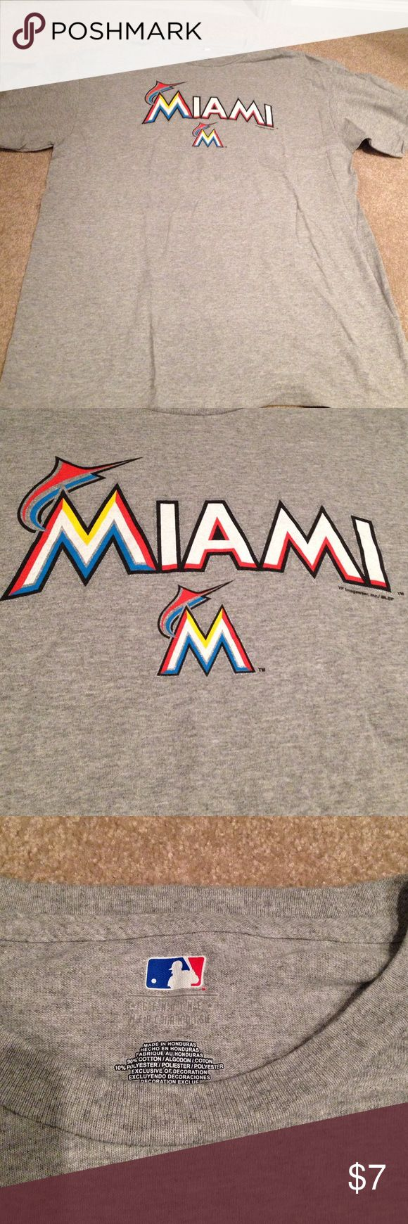 Men's Miami Marlins Tshirt Men's Miami Marlins Tshirt. Gray. Majestic Shirts Tees - Short Sleeve