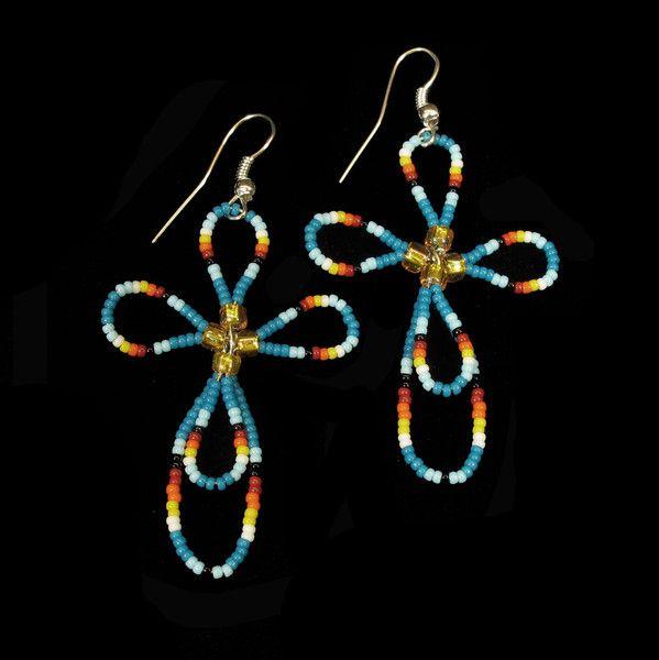 Blue Beaded Cross Earrings Native American handmade