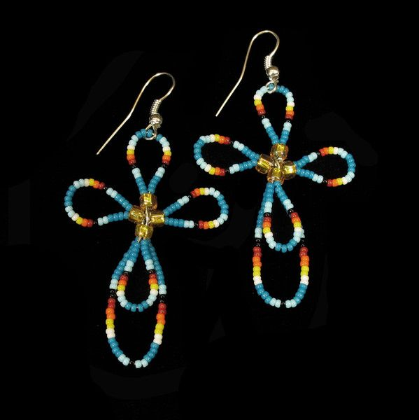 Blue Beaded Cross Earrings Native American handmade