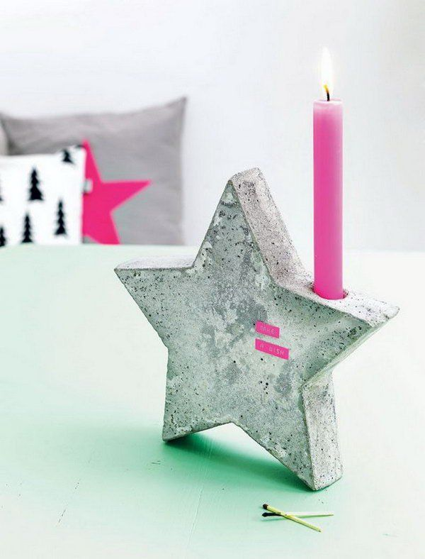 Cute Candle Holder. Concrete isn't just for the infrastructure and base of certain buildings. You can use concrete in a variety of DIY projects, and infuse it into everyday products. http://hative.com/cool-diy-concrete-project-ideas/