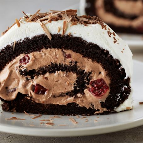 This Month's Recipes   Anna Olson Black Forest flourless roulade
