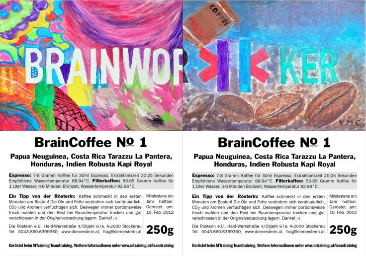 Label for the own roasted BrainCoffee