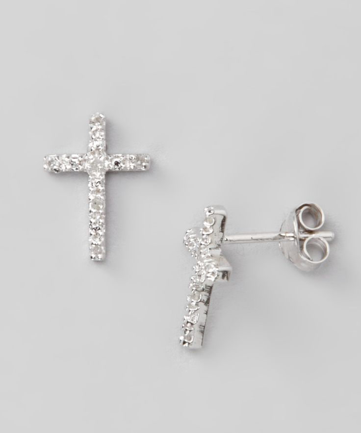 Silver Diamond Cross Stud Earrings