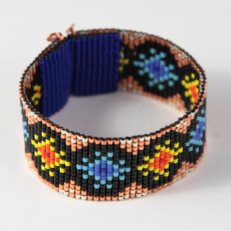 Sun & Stars Bead Loom Cuff Bracelet Native American Style Beaded Jewelry Boho Tribal Beadweaving Southwestern Black Copper by PuebloAndCo on Etsy https://www.etsy.com/listing/253936733/sun-stars-bead-loom-cuff-bracelet-native