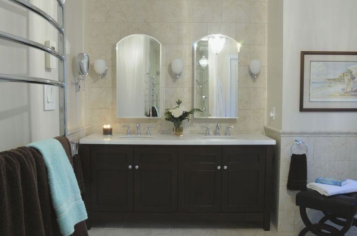 Ensuite bathroom renovation including heated floors, enlarged the shower and the vanity alcove was enlarged.  See more of my work at www.carolinemckaydesign.com or on Houzz at http://www.houzz.com/pro/carolinemckaydesign/caroline-mckay-design #oakville #mississauga #interiordesign #doublevanity #espressovanity #ensuite