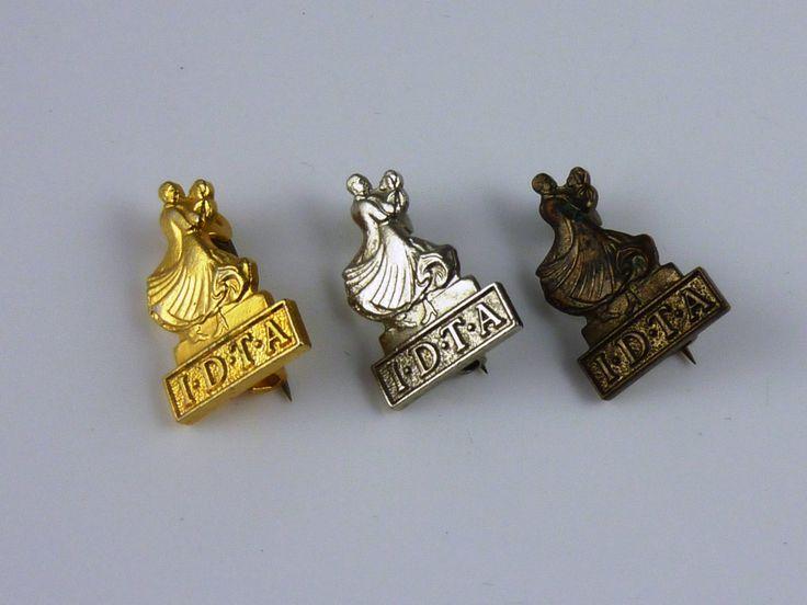 3 IDTA International Dance Teachers Association ballroom dancing badge pins: gold, silver & bronze awards by Krollectables on Etsy