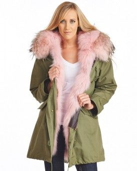 Rose Pink Fur Lined Military Parka with Fur Hood