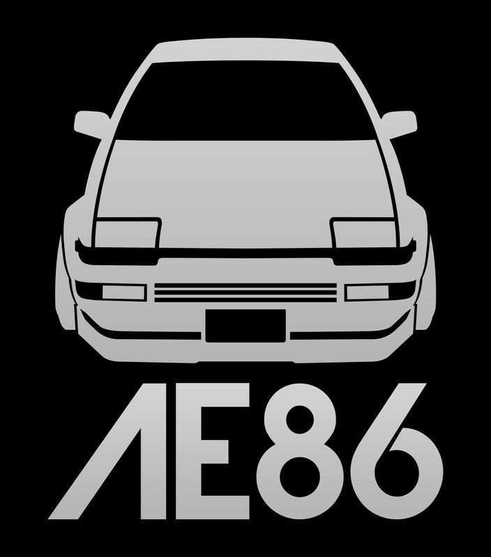 Toyota Ae86 Hachi Roku Silver T Shirt By Vehicle Black Large Mens Fitted Tee Ae86 Toyota Corolla Ae86